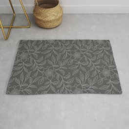 Neutral Gray Lace Floral Rug