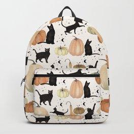 Black Cats Pumpkin Patch Fall Halloween Pattern Backpack