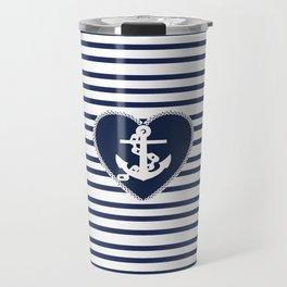 Modern navy blue white heart anchor nautical stripes Travel Mug