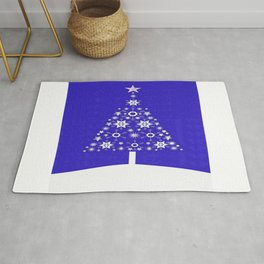 Christmas Tree Of Snowflakes and Stars On Dark Blue Background Rug