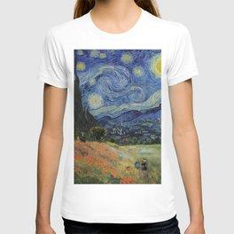 Poppy Fields + Starry Night | Collage 2.0 by Kristi Duggins T-shirt