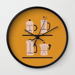 Volturno & French Press Coffee #4 dark orange & vintage pink Wall Clock