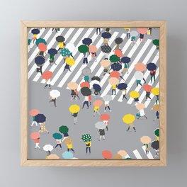Crossing The Street on a Rainy Day - Grey Framed Mini Art Print
