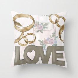 Love   Cake   Wedding Rings Throw Pillow
