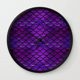 Purple & Blue Mermaid Scales Wall Clock
