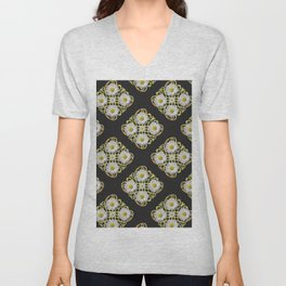 LACEY WHITE DAISIES ABSTRACT BLACK ART Unisex V-Neck