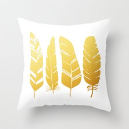 Feathers gold Throw Pillow