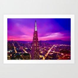 Beautiful  Purple San Francisco, California, USA Skyline at Sunset Art Print