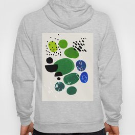 Fun Abstract Minimalist Mid Century Modern Colorful Shapes Lime Green Blue Watercolor Bubbles Hoody