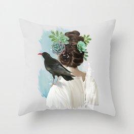 Girl&bird Throw Pillow
