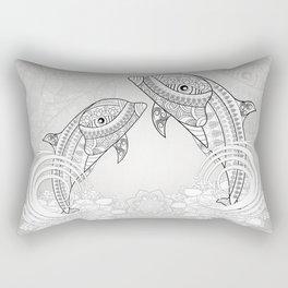 Beautiful dolphin, mandala design Rectangular Pillow