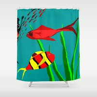 scuba Shower Curtains featuring Scuba Diver by Happy Fish Gallery