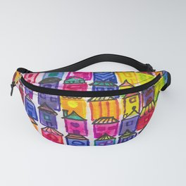 watercolor fantasy houses Fanny Pack