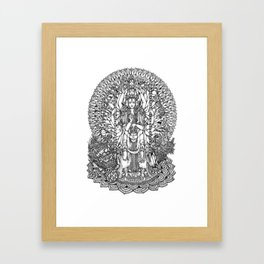 Bodhisattva Avalokiteshvara of Compassion Arms and the Imperial Guardian Lion by Kent Chua Framed Art Print