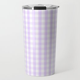 Chalky Pale Lilac Pastel and White Gingham Check Plaid Travel Mug