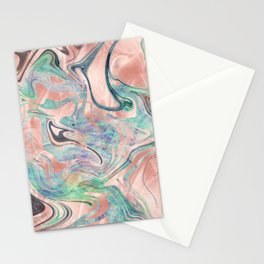 Pastel Rose Gold Mermaid Marble Stationery Cards