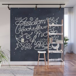 Oscar Wilde Moon Books Quote Calligraphy Stars Wall Mural