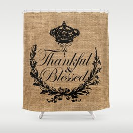 french country jubilee crown thanksgiving fall wreath beige burlap thankful and blessed Shower Curtain