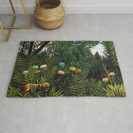 Jungle with Tiger and Hunters by Henri Rousseau Rug