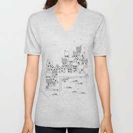 Harbour sketch Unisex V-Neck