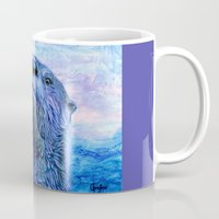 otters Mugs featuring First Kiss by Christine's heART