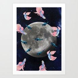 swimming moon Art Print