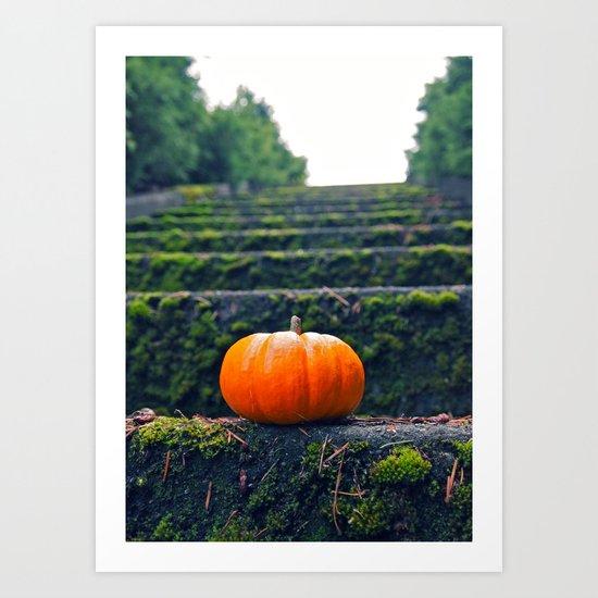 Stairway pumpkin Art Print