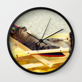 Summer cat nap on a sun lounger - oil painting Wall Clock