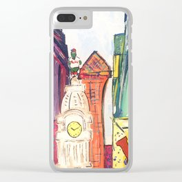 Philadelphia Skyline with Sports Teams: LOVE Statue, Phillie Phanatic, and Eagles Clear iPhone Case