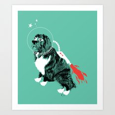 A Flying Dog In Outer Space Art Print