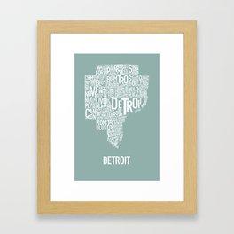 Detroit Map Teal Framed Art Print