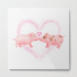 Cute and Sweet Little Piglets in Love, Watercolor Hand-painted Print, I Love You Gift With Animals Metal Print