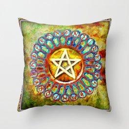 Rune Circle Pentagram Throw Pillow