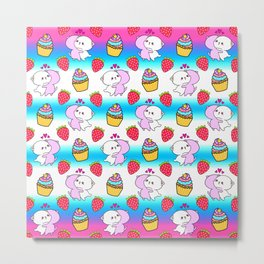 Cute happy cuddling funny Kawaii baby kittens, sweet red summer strawberries and colorful rainbow yummy cupcakes bright blue and white striped design. Nursery decor. Metal Print