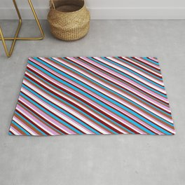 Colorful Sienna, Plum, White, Maroon, and Deep Sky Blue Colored Striped/Lined Pattern Rug