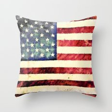 Vintage American Flag Throw Pillow