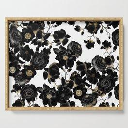 Modern Elegant Black White and Gold Floral Pattern Serving Tray