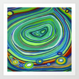 Vibrant Pastel on Suede Tree Ring Abstract by annmariescreations Art Print