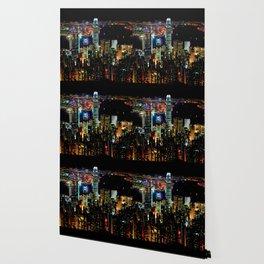 Hong Kong City Skyine Black Night Wallpaper