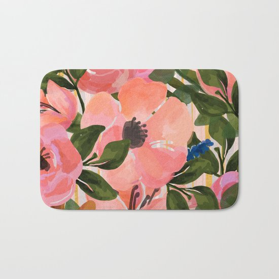 Watercolor flowers and plants 02 Bath Mat