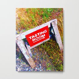Tasting Room Sign At Ani Che Cellars Metal Print