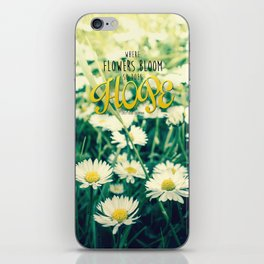 Spring Blooming White Daisies and Lady Bird Johnson Quote iPhone Skin
