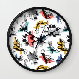 Geometric Dinos // non directional design white background multicoloured dinosaurs shadows Wall Clock