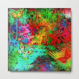BUTTERFLY FEVER - Bold Rainbow Butterflies Fairy Garden Magical Bright Abstract Acrylic Painting Metal Print