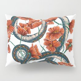 Let Go, Let Grow – Teal Snake in Red Poppies Pillow Sham