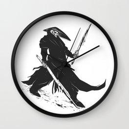 Samurai skull - japanese evil - black and white - fighter illustration - grim reaper cartoon Wall Clock