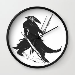 Samurai skull - japanese evil - black and white - fighter illustration - grim reaper cartoon Wall Clock
