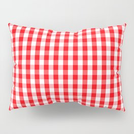 Large Christmas Red and White Gingham Check Plaid Pillow Sham