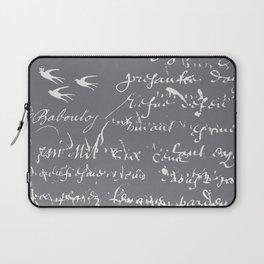French Script on Steel Gray Laptop Sleeve