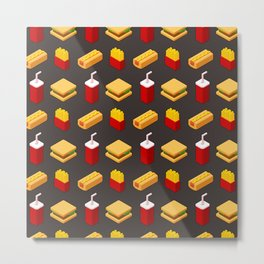 Isometric junk food pattern Metal Print
